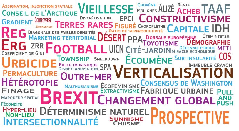 Les mots de Géoconfluences en 2017