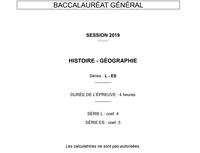 Sujets du bac 2019 en histoire-géographie, Amérique du Nord et Liban