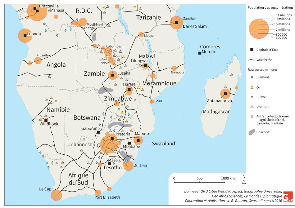 Carte Afrique australe, mines, voies ferrées, agglomérations urbaines