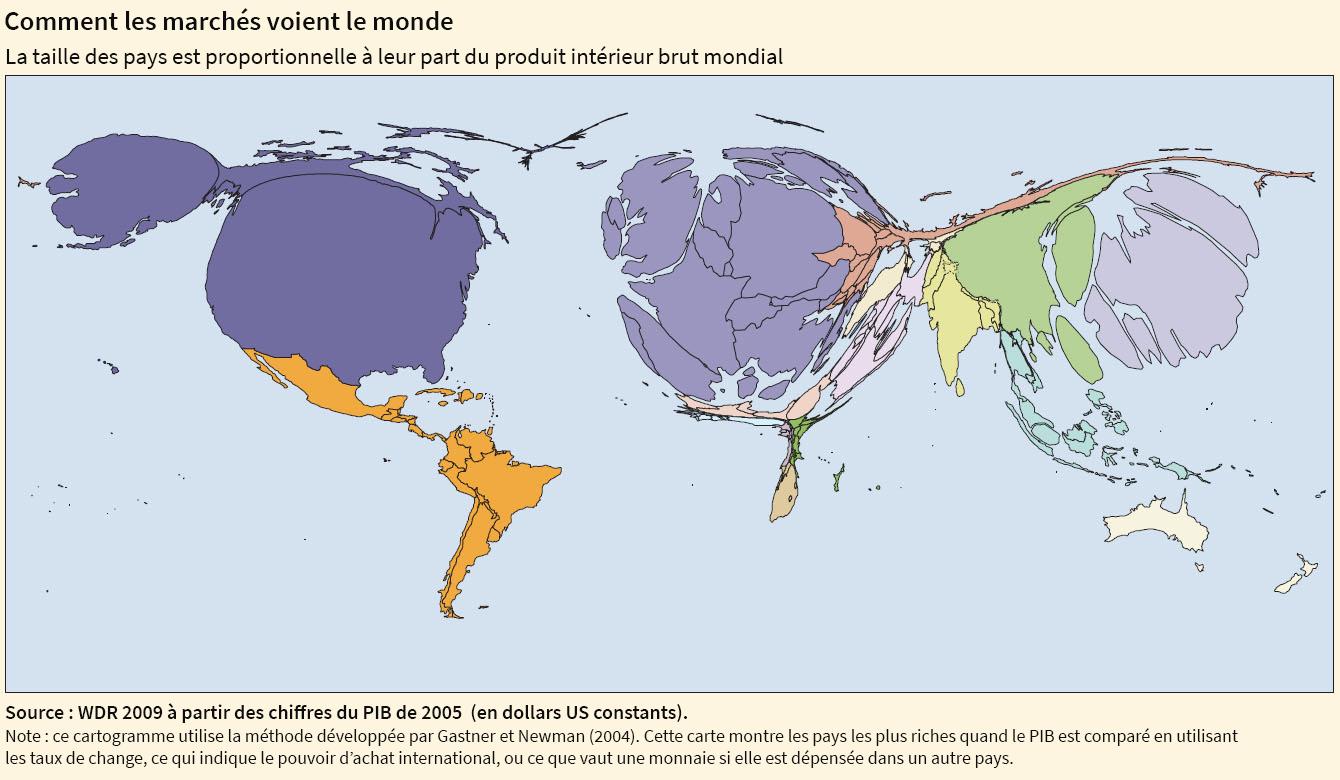 planisphère PIB anamorphose cartogramme