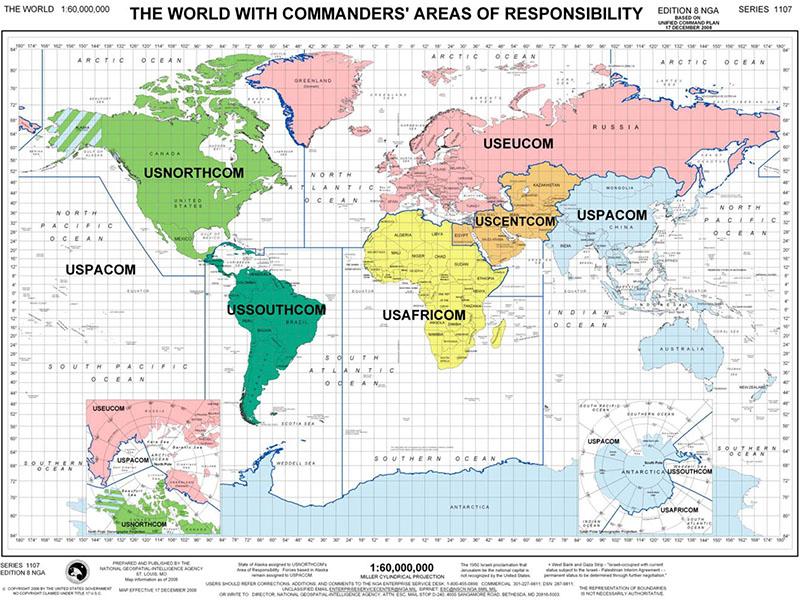 découpage du monde planisphère US Army 2