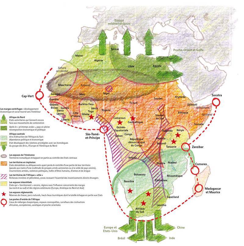 Carte de synthèse en coloriage, par Philippe Rekacewicz, monde diplomatique