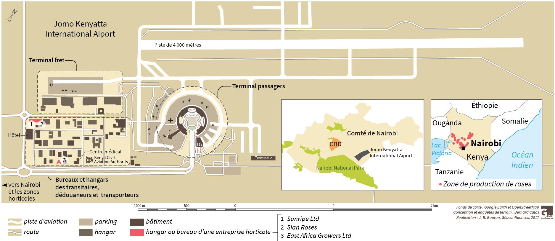 Plan carte aéroport de Nairobi, Jean-Benoît Bouron
