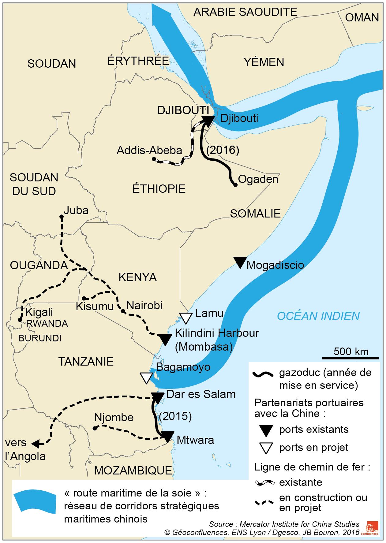 Carte de l'Afrique orientale ports et voie maritime de la Soie