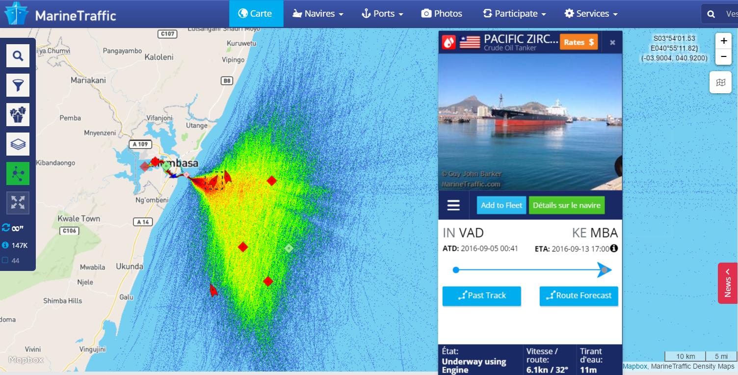 saise d'écran Marine Traffic Mombasa