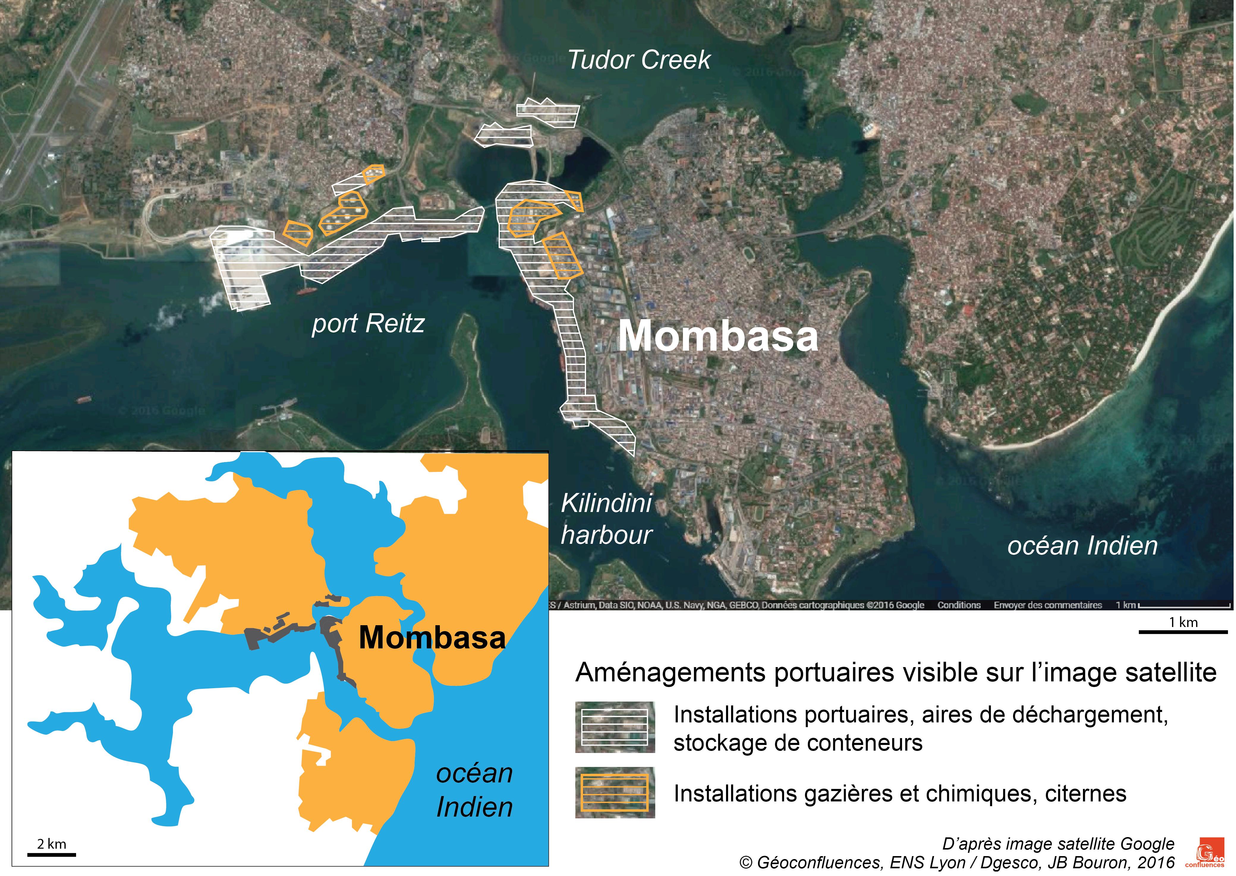 Plan de Mombasa et image satellite