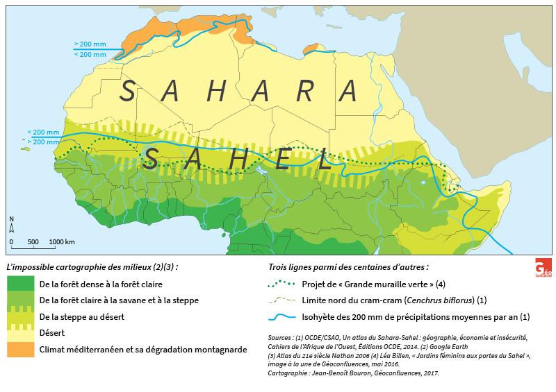 Carte de Jean-Benoît Bouron — Sahara Sahel milieux délimitation 200 mm