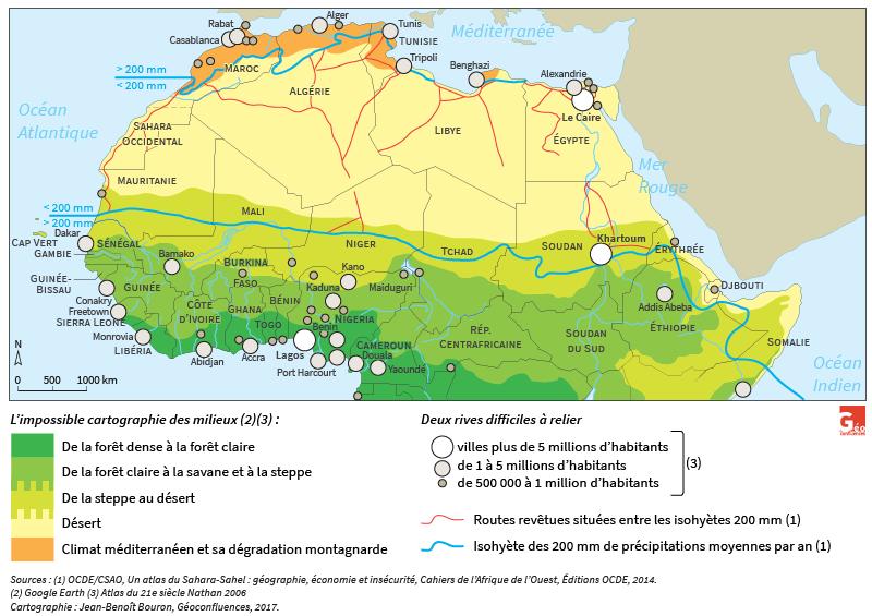 Carte de Jean-Benoît Bouron — Sahara Sahel routes et villes