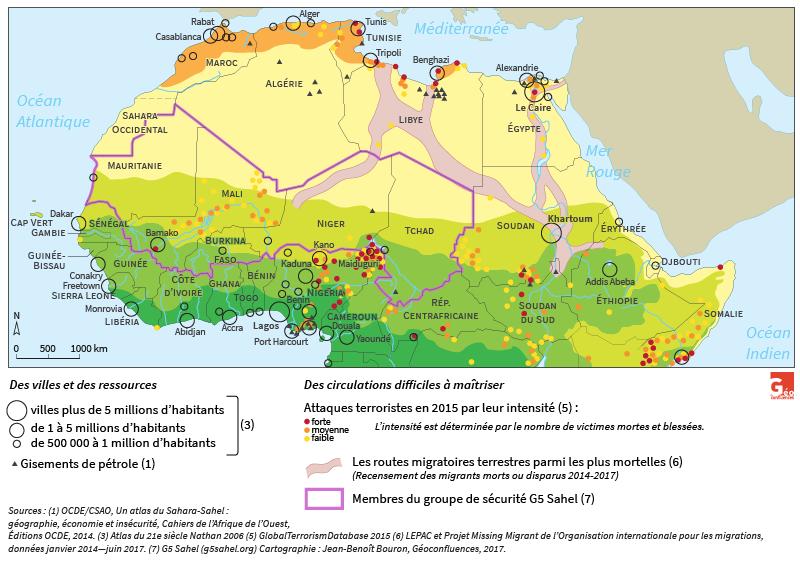 Carte de Jean-Benoît Bouron — Sahara Sahel insécurité attentats routes migratoires terrestres