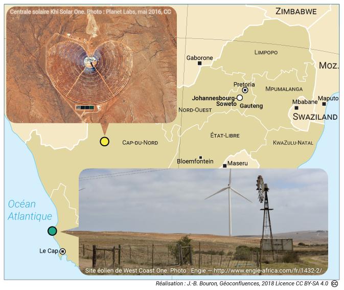 Centrale solaire de Khi Solar One et centrale éolienne West Coast One