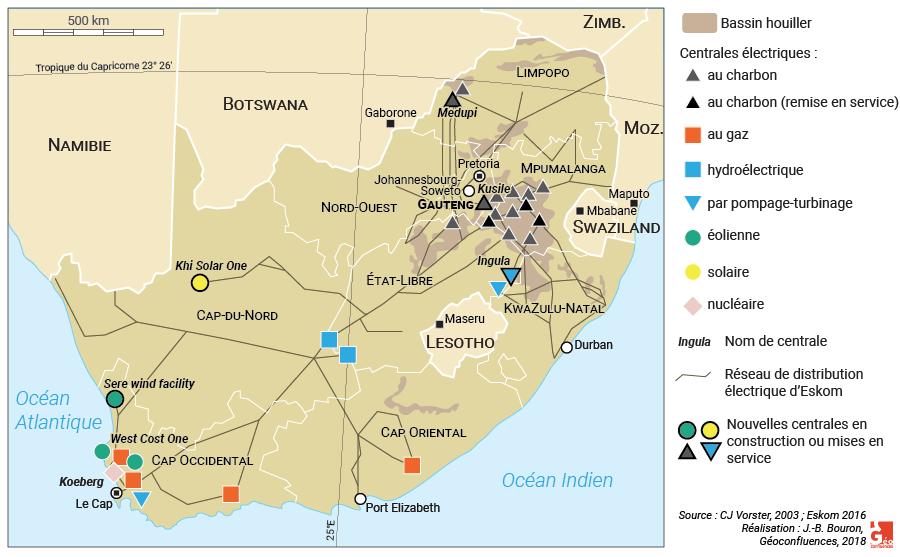 Carte : les centrales électriques d'Eskom