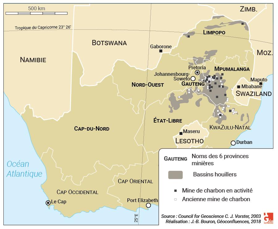 Carte : Production de charbon en Afrique du Sud