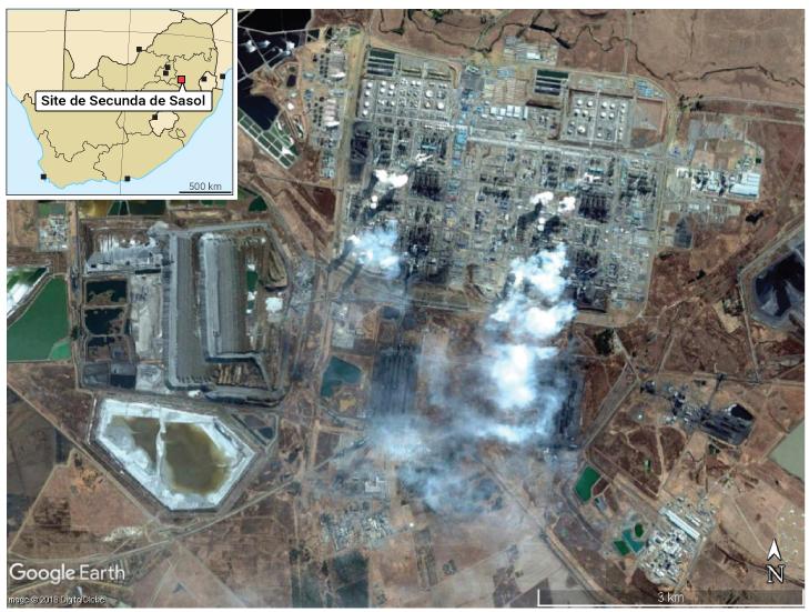 photographie aérienne et localisation du site de Secunda de la Sasol