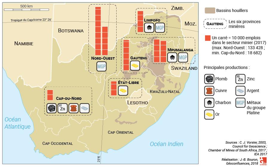 Carte : principales provinces minières en Afrique du Sud