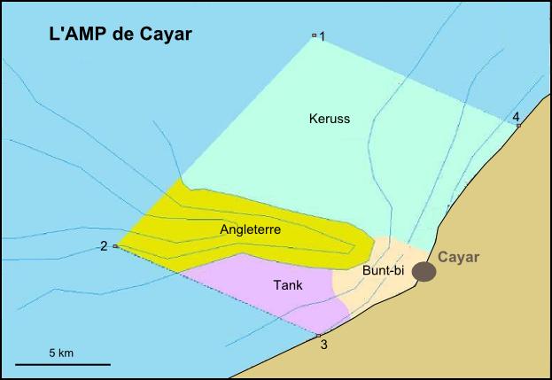 carte délimitation aire marine protégée de Cayar au Sénégal