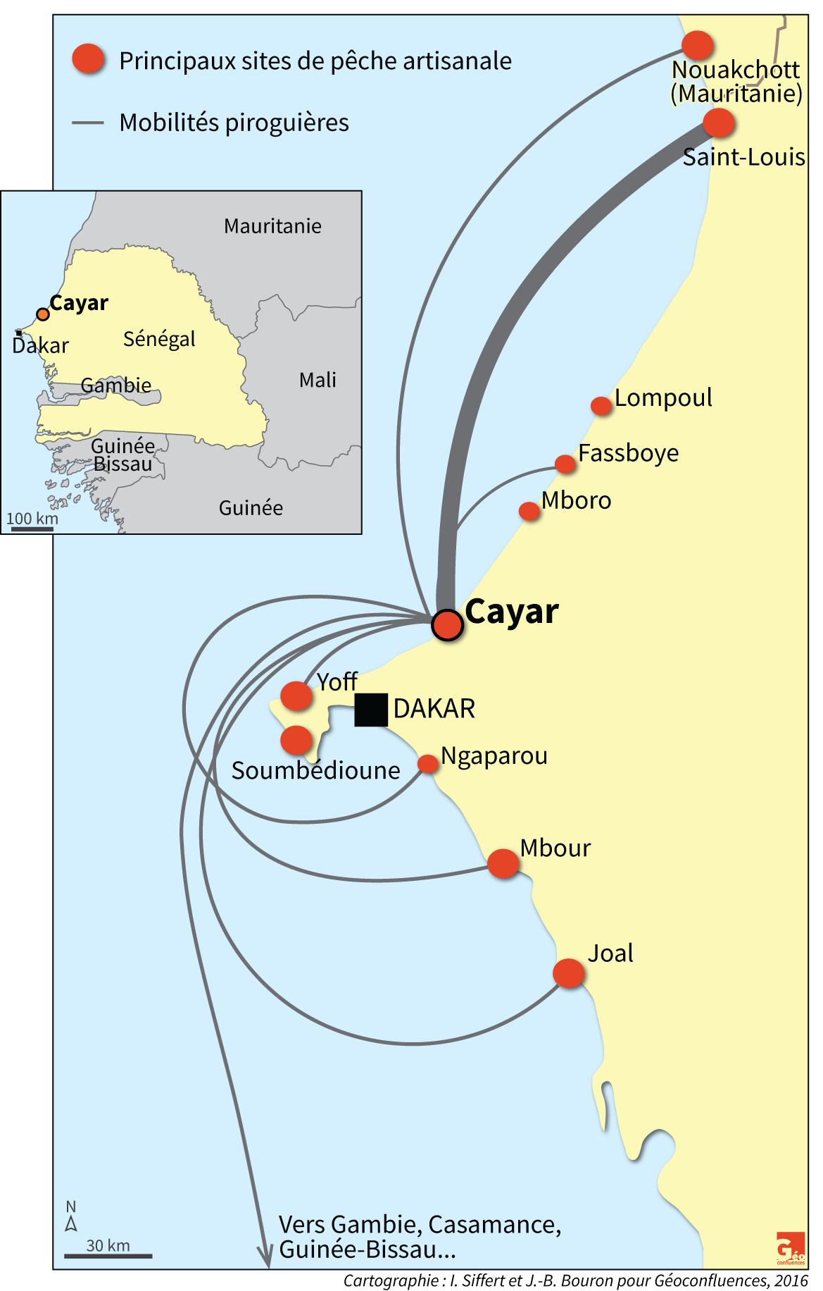 carte sénégal Cayar mobilités piroguières sites de pêche