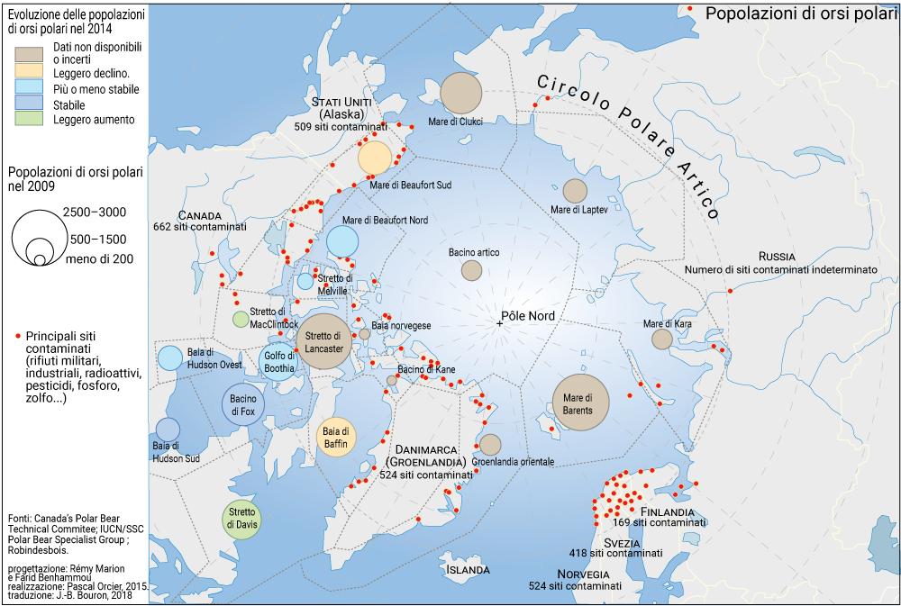 carte popolazione di orsi polari e siti inquinati nelle regioni artiche