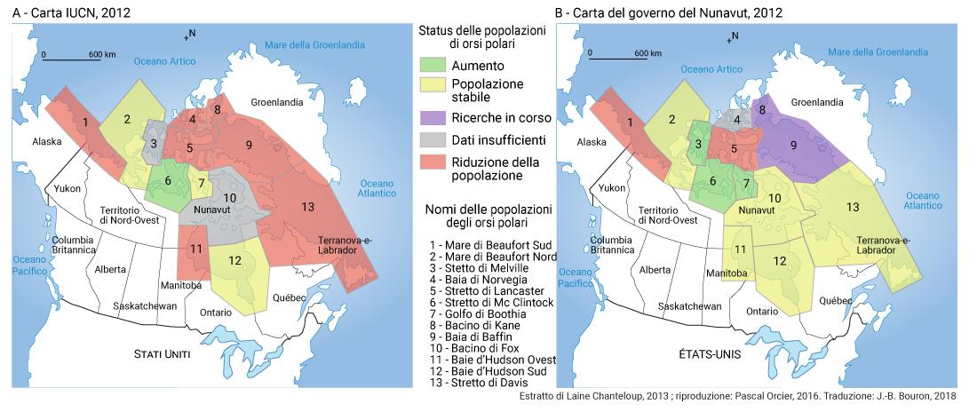 carta popolazioni di orsi polari artico canadao groenlandia