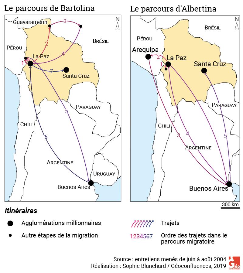 Sophie Blanchard — carte parcours migratoires