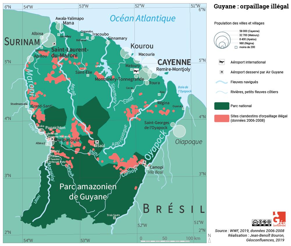 Carte sites d'orpaillage illégal en Guyane