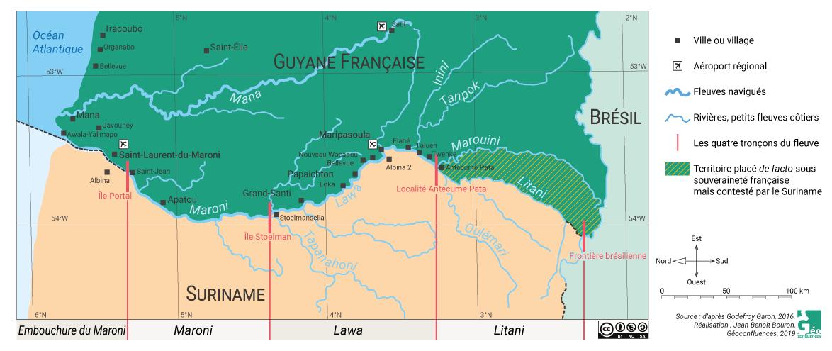 Carte Guyane le Maroni et ses affluents