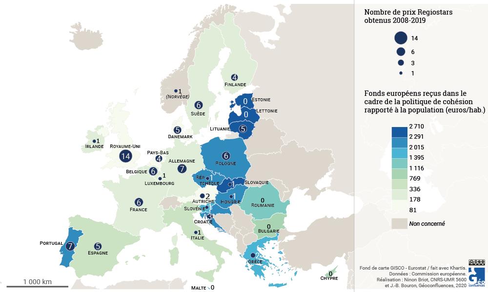 Disparités spatiales dans les récompenses des projets financés par la politique de cohésion
