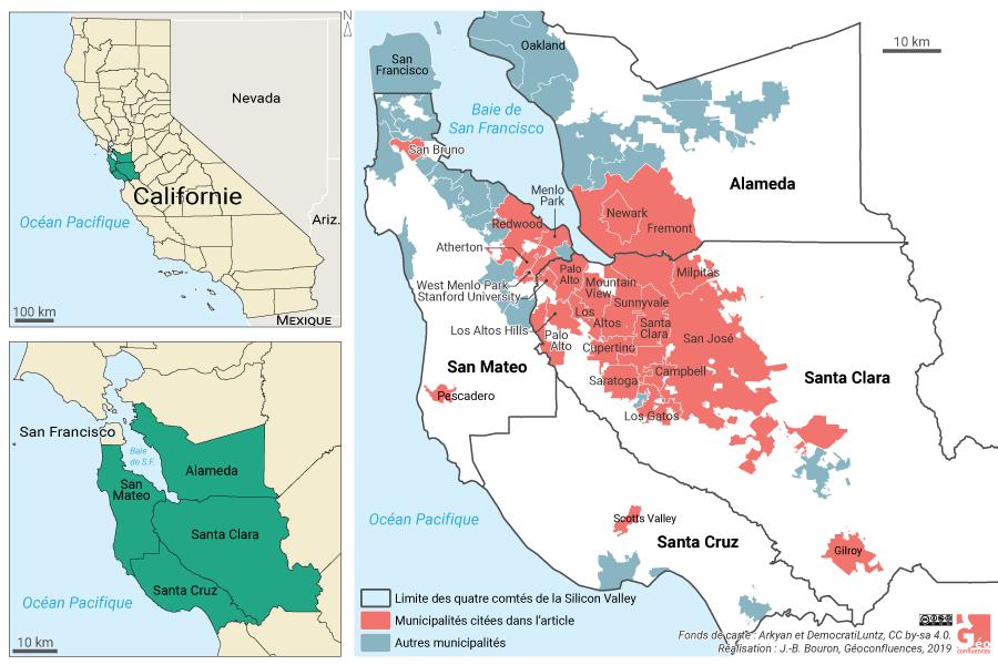 Carte de localisation de la Silicon Valley en Californie