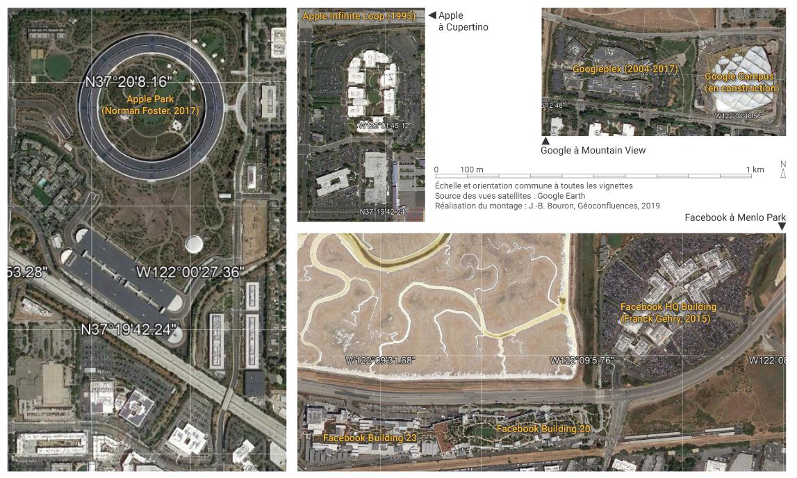 Apple Park et Infinite Loop, Googleplex et siège de Facebook