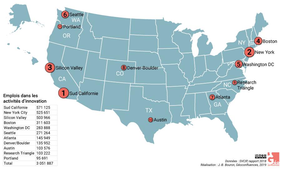 Carte métropoles innovantes états-unis Boston MIT Seattle Research Triangle...