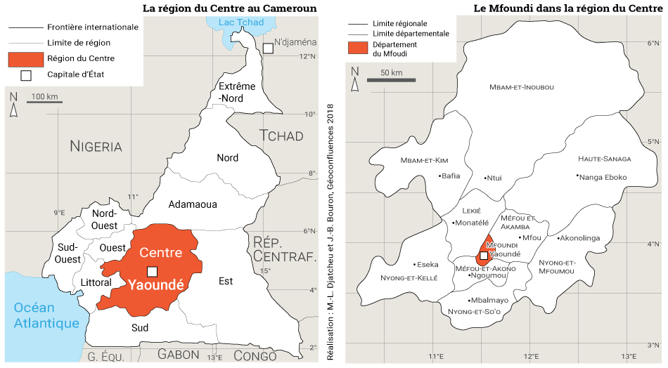 Martin Luther Djatcheu — carte localisation région Centre et Mfoundi