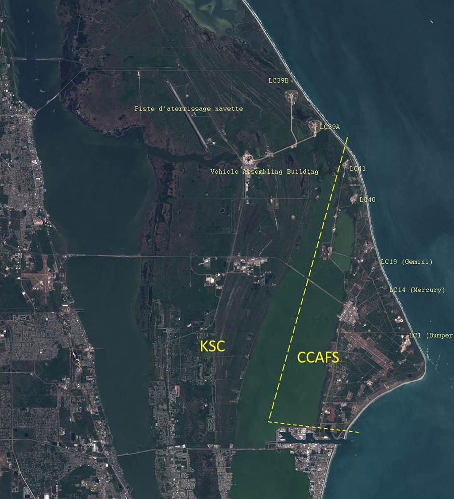 base de Cap Canaveral — image satellite CNES