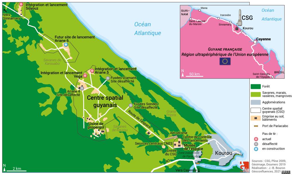 Kourou plan CSG base de lancement sites pas de tir musée