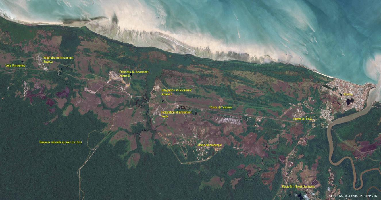 base de Kourou Guyane image satellite CNES