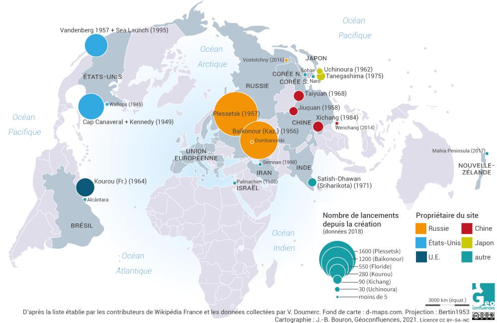 Carte du monde des sites de lancement spatial nombre de lancements depuis l'origine par pays