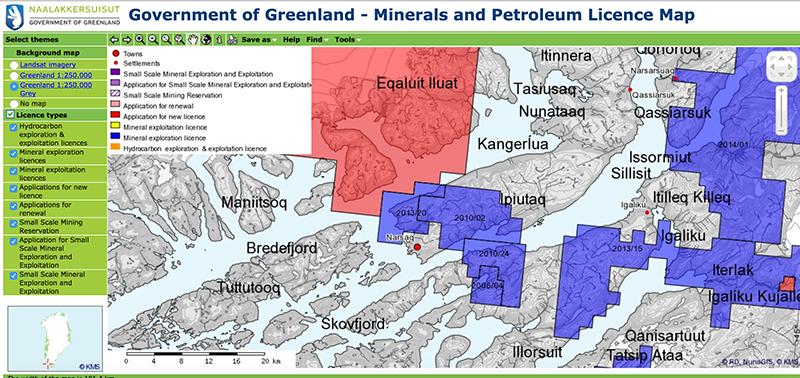 NunaGIS map carte concessions minières