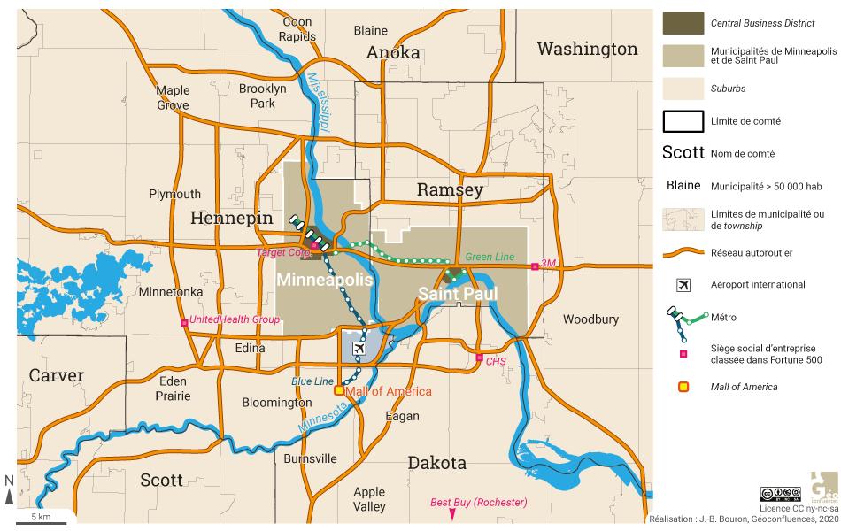 Minneapolis Saint Paul: centre de la métropole CBD et Mall of America