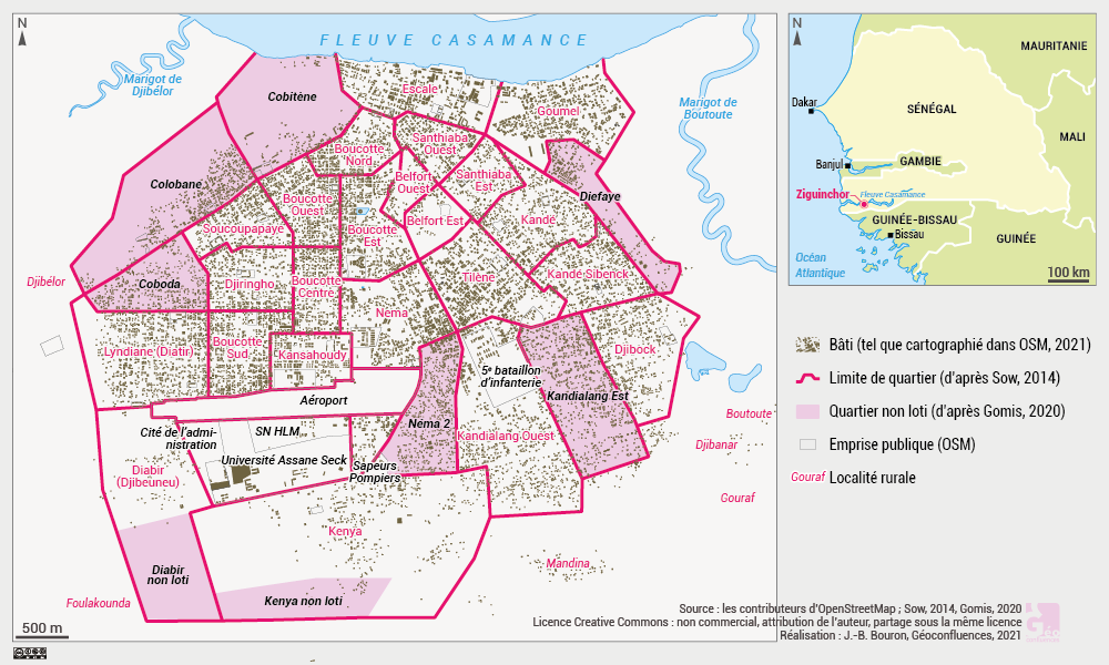 Ziguinchor carte bâti lotissement habitat informel quartiers