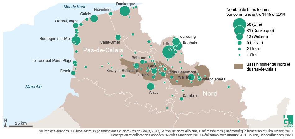 carte des sites de tournage dans le nord et le pas de calais (région haut de france)
