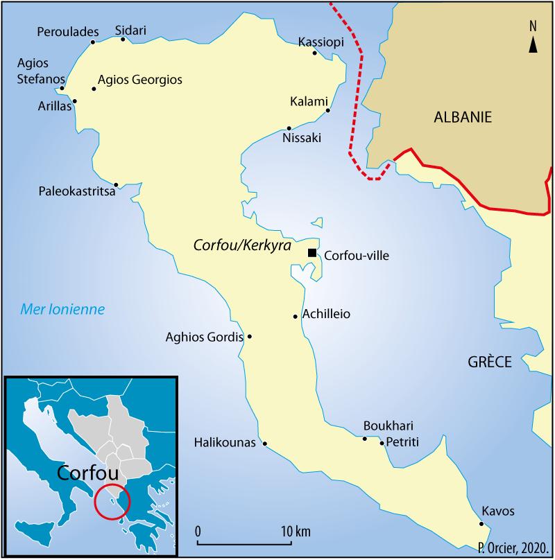 Pascal Orcier — carte frontière Corfou Grèce Albanie