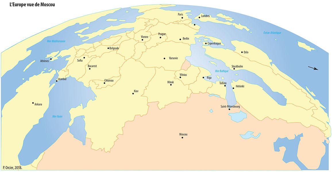 Pascal Orcier — Carte: Europe vue de Moscou