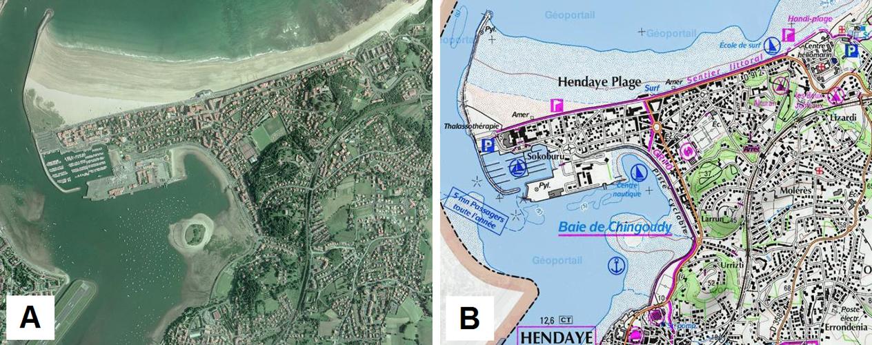 Orthophotographie et carte topographique IGN de Hendaye