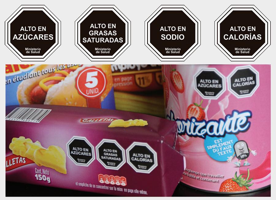 avertissements sur les emballages alimentaires au Chili