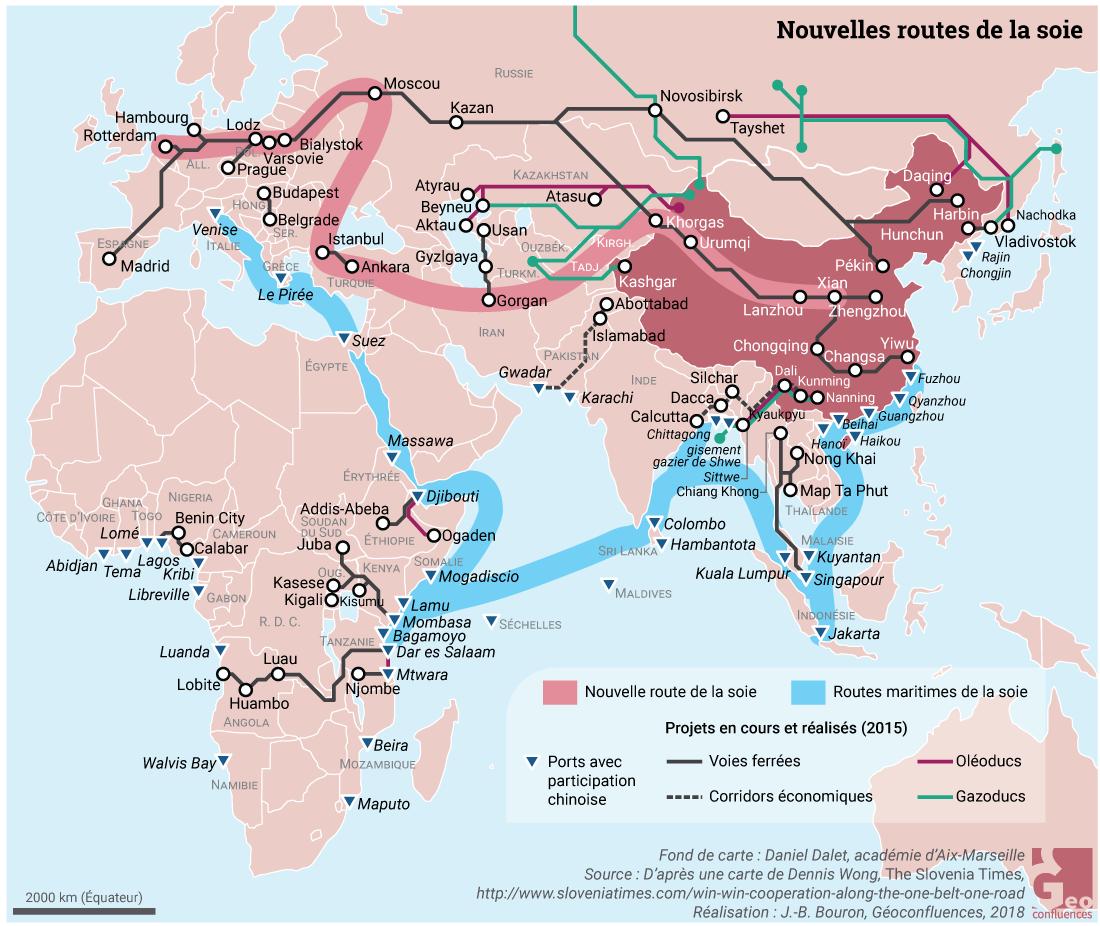 nouvelle route de la soie et routes maritimes de la soie OBOR carte
