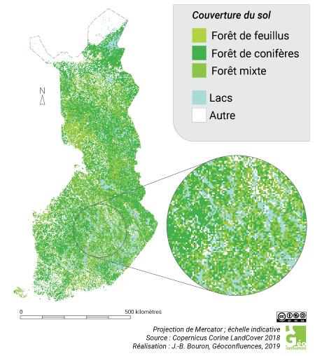 Carte forêts et lacs en Finlande