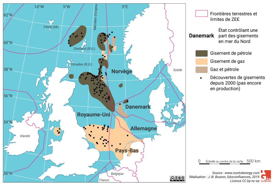 Carte des gisements gaz et pétrole en mer du Nord avec frontières maritimes ZEE