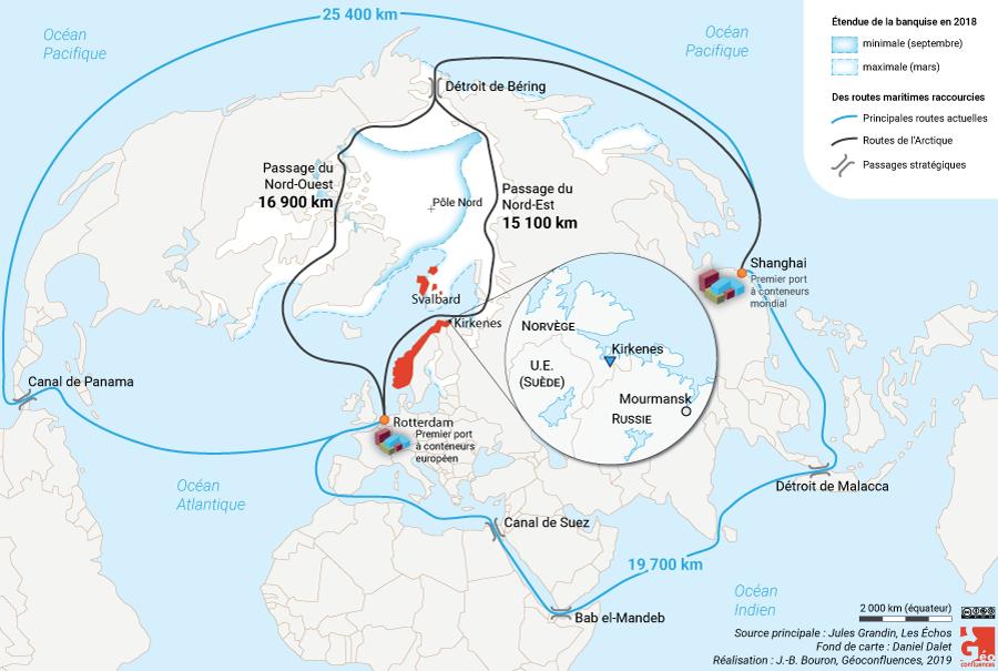 Carte nouvelles routes arctiques
