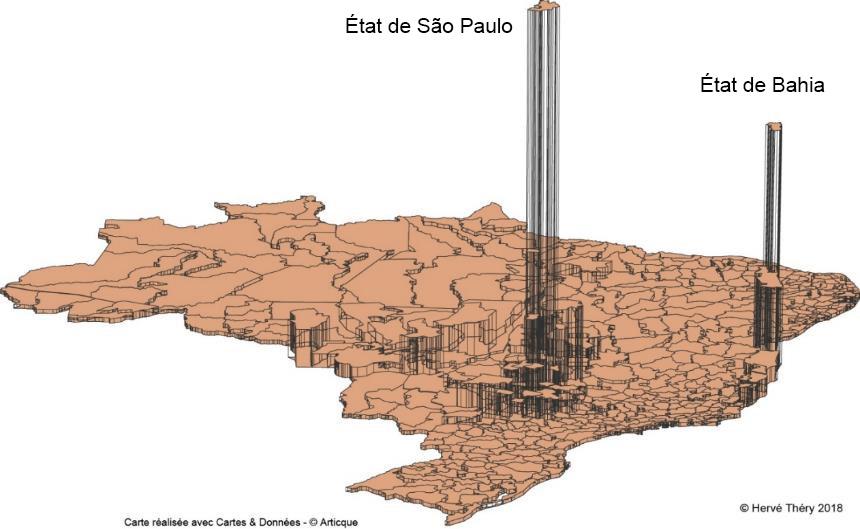Hervé Théry — Carte production de latex d'hévéa au Brésil 2014
