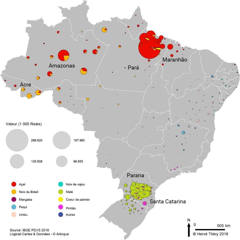 Hervé Théry — carte valeur des produits de alimentaire de collecte au Brésil