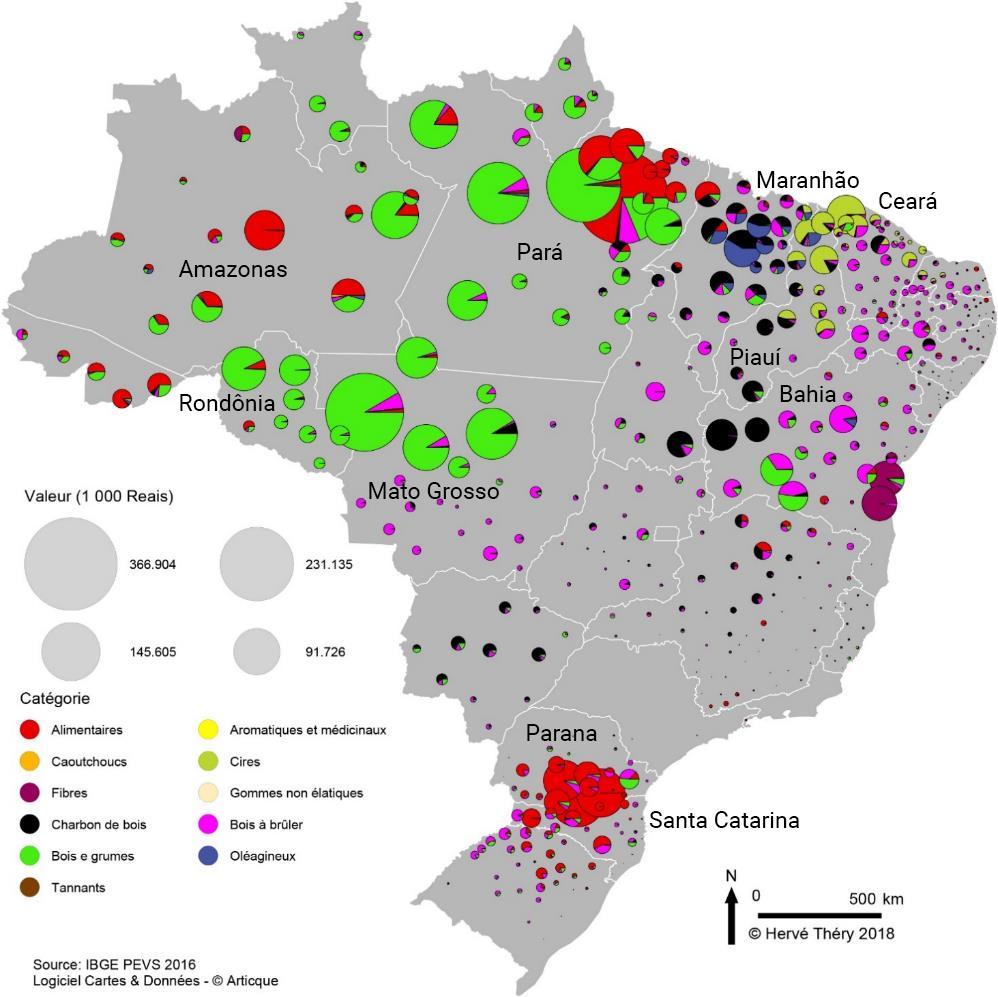 Hervé Théry — carte valeur par catégorie de produits de la collecte au Brésil