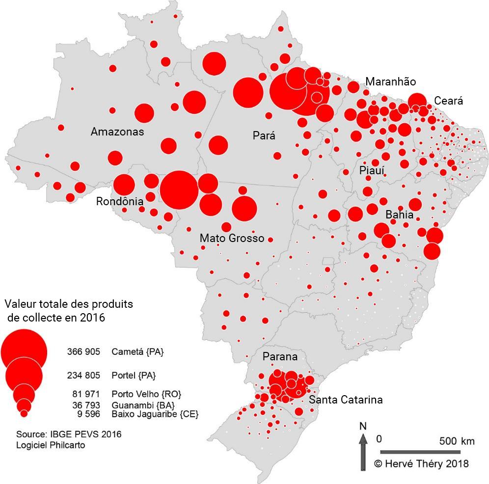 Hervé Théry — carte valeur des produits de la collecte au Brésil